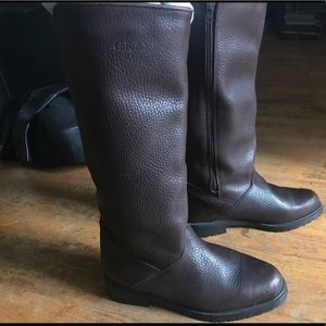 BROWN LINED LEATHER BOOTS